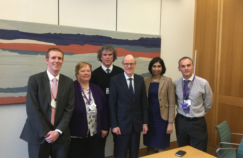 Suella with Schools Minister Nick Gibb and Fareham teachers